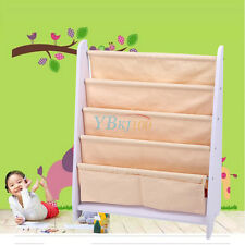 Kids Children Bookcase Canvas Book Magazine Bookshelf Storage Display Holder UK