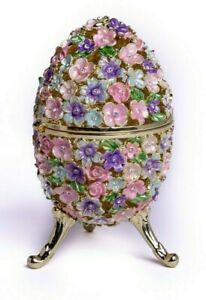 Flower Faberge Egg Trinket Box  Handmade by Keren Kopal Austrian Crystals