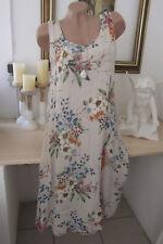 Italie Femmes Fleurs Robe Lin/Coton Extra-Large Midi Été Couleur Chair 40 42 44