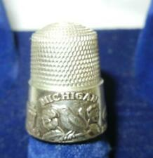 VINTAGE STATE OF MICHIGAN SIMON BROS. STERLING SILVER THIMBLE AUTO CAPITAL