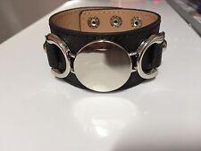 Bracelet manchette simili cuir noir