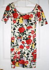 Beautiful Floral Scoop Neck Stretch Lycra Short Sleeve Dress Size S