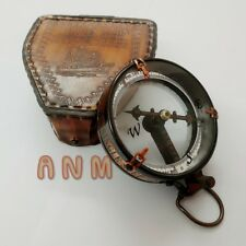 Antique Magnification Spencer Marine Brass Compass With Brown Leather Box