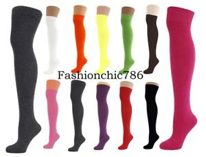 Women's Over The Knee Thigh Socks Stretch Girls Plain & Neon Colour Socks