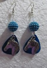 "Light Blue Disco Ball with Silver Horse Head Charm 2"" Drop Hook Earrings"