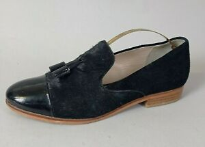 Clarks Ladies Flat Loafers Shoes UK 5 D Black Slip On Tassel Faux Pony Hair