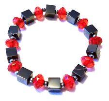"Nice 6.5"" Beaded Red Black Stretch Bracelet"