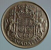 1944 Canada 50 cent coin - this King George VI half dollar is 80% silver