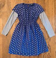 Mini Boden Girls Star Print Cotton Dress Purple Grey  Striped Sleeves Sz 9-10 Yr