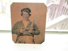 Reproduction Confederate Soldier W/Colt Revolver & Bowie Knife Cs Tintype
