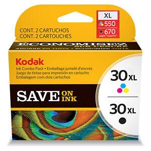 NEW Genuine Kodak 30XL Color & 30XL Black Ink Cartridge Combo Pack Sealed NIB