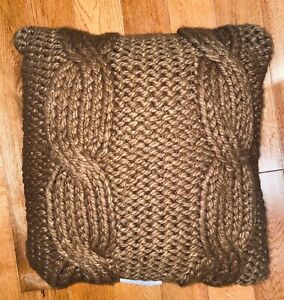 """NEW Threshold - Cable Knit Square Throw Pillow - Brown - 18"""" x 18"""""""