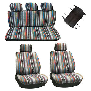 10 Pc Universal Baja Inca Saddle Mexican Blanket  Seat Cover Set