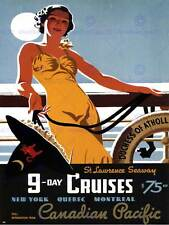 Travel tourism canadian pacific cruise st lawrence canada québec poster 2332PY