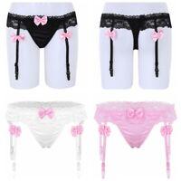 Damen Strapsgürtel Spitze Rüschen Bowknot G-String Bikini Slips Unterwäsche sexy