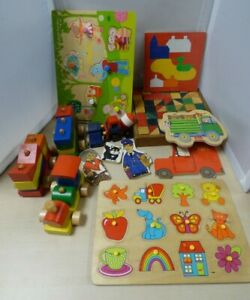 Wooden Toy Collection 4 Puzzles, Train, Bricks, Vehicles #2 BNB2