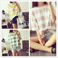 New Korean Fashion Womens Short Sleeve Loose Blouse Casual Summer Tops T-Shirt