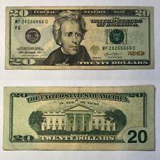 6️⃣❎5️⃣ PENTA 66666 Five-of-a-Kind in-a-Row   Fancy Serial -2013 $20 Dollar Bill