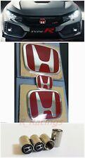 3pcs Front Rear Steeringwheel Red H Emblem Fit For 06 15 Honda Civic Sedan 4dr Fits 2012 Honda Civic