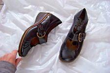 womens romika black leather mary jane wedge heels shoes size 39 8/8.5