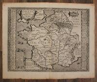 """Original Kupferstichkarte von Ortelius """"Gallia vetus"""" 1590  Frankreich sf"""