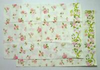Pink Rose Decorated White No Iron Percale Pillowcases TasteMaker Set of 2 VTG