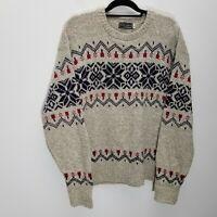 Vtg Peter England Men Sweater XL Wool Blend Fair Isle Knit Crew Neck Ribbed Trim