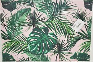 """Set of 2 PVC Indoor/Outdoor Polyvinyl Placemats(13""""x18"""")TROPICAL GREEN LEAVES,SM"""