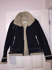 Sandro Moto Cotton Shearing Jacket w/ Leather Strip Size L
