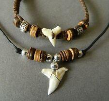 SHARK TOOTH NECKLACE BRACELET SET BOYS MENS DESIGN BEAD 1.5cm shark teeth