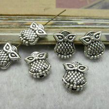 30pc Tibetan Silver Charms 2-Sided Owl Animal Spacer Beads Accessories PJ127