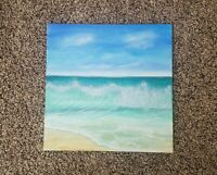 Original Acrylic Painting Ocean seascape beach waves scene 10x10 canvas panel