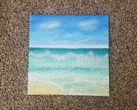 Original Acrylic Painting Ocean seascape beach waves scene 10x10 canvas panel