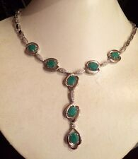 79.80CT RARE NATURAL TOP RICH GREEN COLOMBIAN EMERALD 925 SILVER NECKLACE 23""
