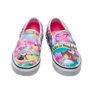 Vans Disney Classic Slip-On Alice in Wonderland Shoe UK Size 4 - new, boxed.