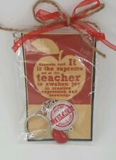 World's Best Teacher Key ring Great Teacher Gift Rhinestone Apple Charm