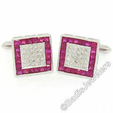 18k White Gold 5.49ctw Channel Set Ruby Halo & Pave Diamond Square Cuff Links