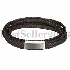 Mens Multi-layer Wheat Braided Leather Braided Bracelet Stainless Steel Bangle