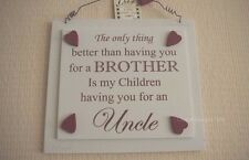 Wall Plaque My Brother My Childrens Uncle Wooden Hearts Sign Cream 21cm F1457B