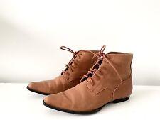 Django & Juliette Size 38 Tan Leather Ankle Boots 'Karti' Lace Up  Pixie Boots
