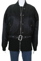 Opening Ceremony Womens Zip Up Belted Bomber Jacket Black Size Small