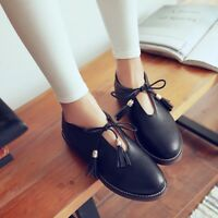 Women's Round Toe Flat Lace Up Shoes Block Low Heels Casual Tassel Loafers Size