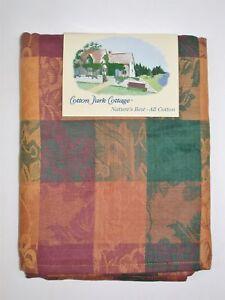 """Cotton Park Cottage 100% Cotton Tablecloth ~ Autumn Foliage 60"""" x 84"""" OVAL *NEW*"""