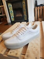 UNISEX VANS OLD SKOOL WHITE CANVAS RETRO SKATE SK8 VINTAGE PUMPS TRAINERS SIZE 7