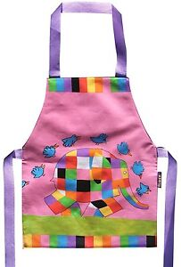 Elmer the Elephant Child's PVC Coated Wipe Clean Pink Apron Shreds