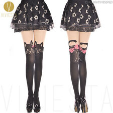 CUTE CAT WITH HEAD BOW TATTOO TIGHTS - Girl Women Black Mock Over Knee Pantyhose