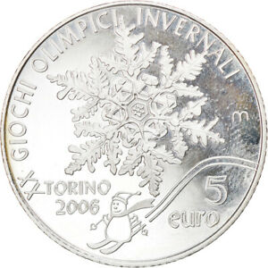 [#833209] San Marino, 5 Euro, Jeux olympiques de Turin, 2006, Rome, Proof, FDC,