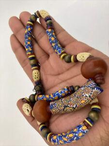 Antique Large Millefiori Bead Venetian African Trade Beads Necklace👀 Unusual