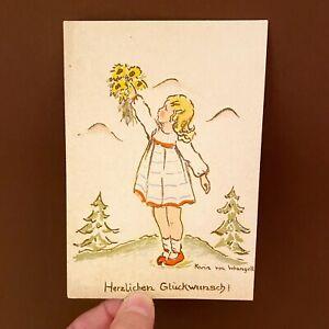 Postkarte Ansichtskarte ALT 1940er 14x10cm Karin von Wrangell Mädchen Vintage