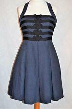 JESSICA SIMPSON Size 10 Gorgeous Navy Linen Halterneck Dress Ribbon Pleated *VGC